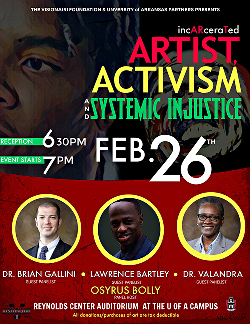 incARcerated artist activism event flyer
