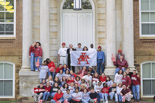 student group outside Old Main